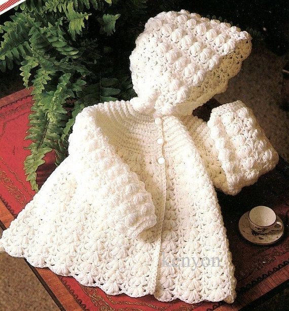 "Instant Download - Baby Hooded Sweater Jacket Crochet Pattern - 3 Sizes 16""-20"" (approx. newborn to 12 mos) - 4 Ply Yarn - Vintage Pdf, $1.75"