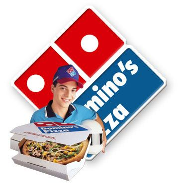 Domino's pizza recipe in box with delivery guy