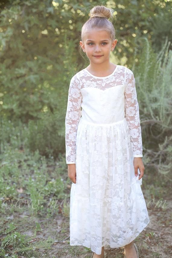 d021e2f223c Lace Flower girl dress Long sleeve Boho flower girl dress