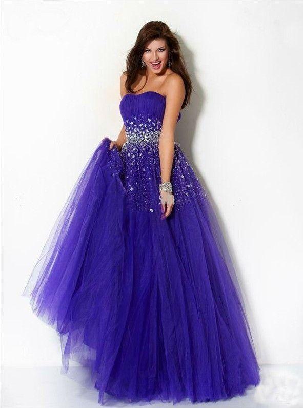 Elegant Tulle Wedding Dress A-Line Purple Wedding Dresses 2015 Wedding Dresses Strapless Wedding Dresses Pleats Beaded Prom Dresses