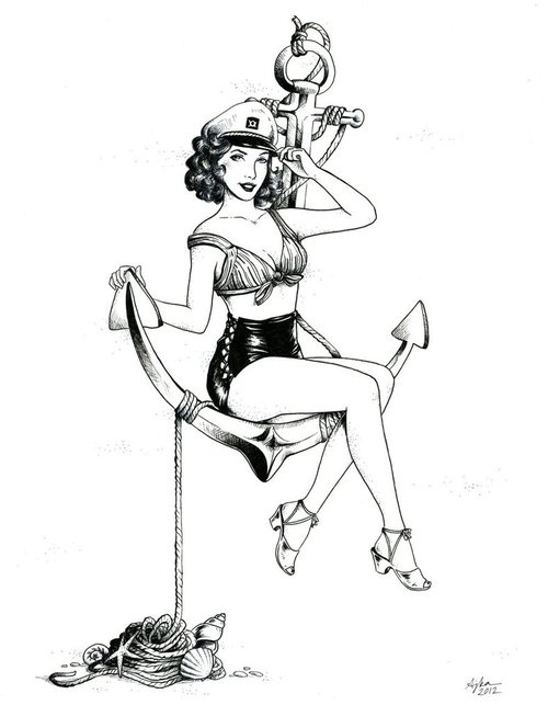 Pin Up Girl Drawings Tumblr Anchor girl on anchor