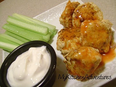 "Spicy ""Buffalo Chicken"" Meatballs with Creamy Blue Cheese Dip"