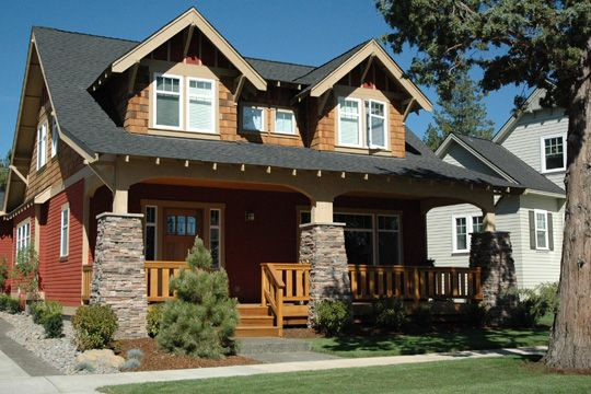 17 best images about modern craftsman plans on pinterest for Craftsman style gables