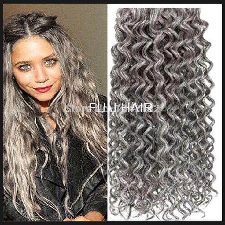 Best 25 grey hair extensions ideas on pinterest black to silver hot sale silver grey hair extensions human grey hair weave 100g brazilian deep curly virgin gray pmusecretfo Choice Image