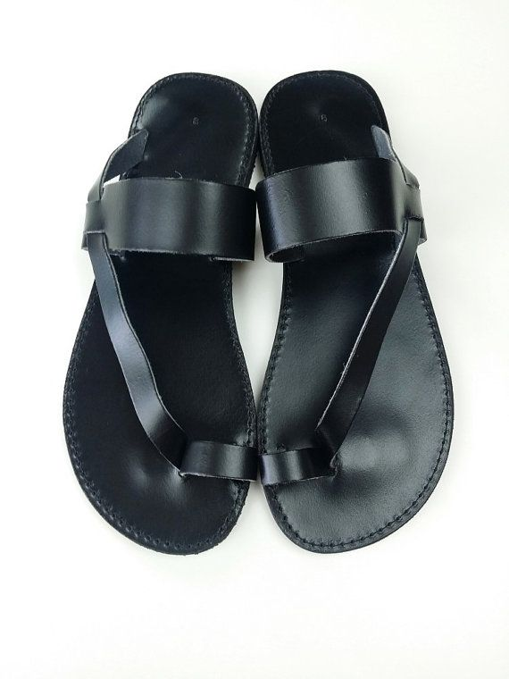 Toering Black Leather Flat Sandal Handmade Greek by Leatherhood