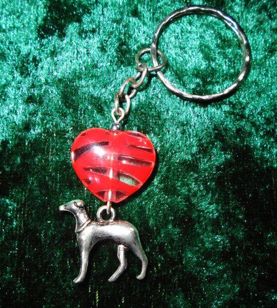 B.Long Greyhound Striped Heart Keyring (Red) - Free UK P&P  Dog / Animal / Love /  Dog Lover / Funky / Sweet / Elegant / Saluki / Whippet