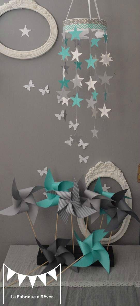 mobile étoiles turquoise blanc gris décoration chambre enfant bébé garçon fille décoration mixte mariage baptême communion anniversaire