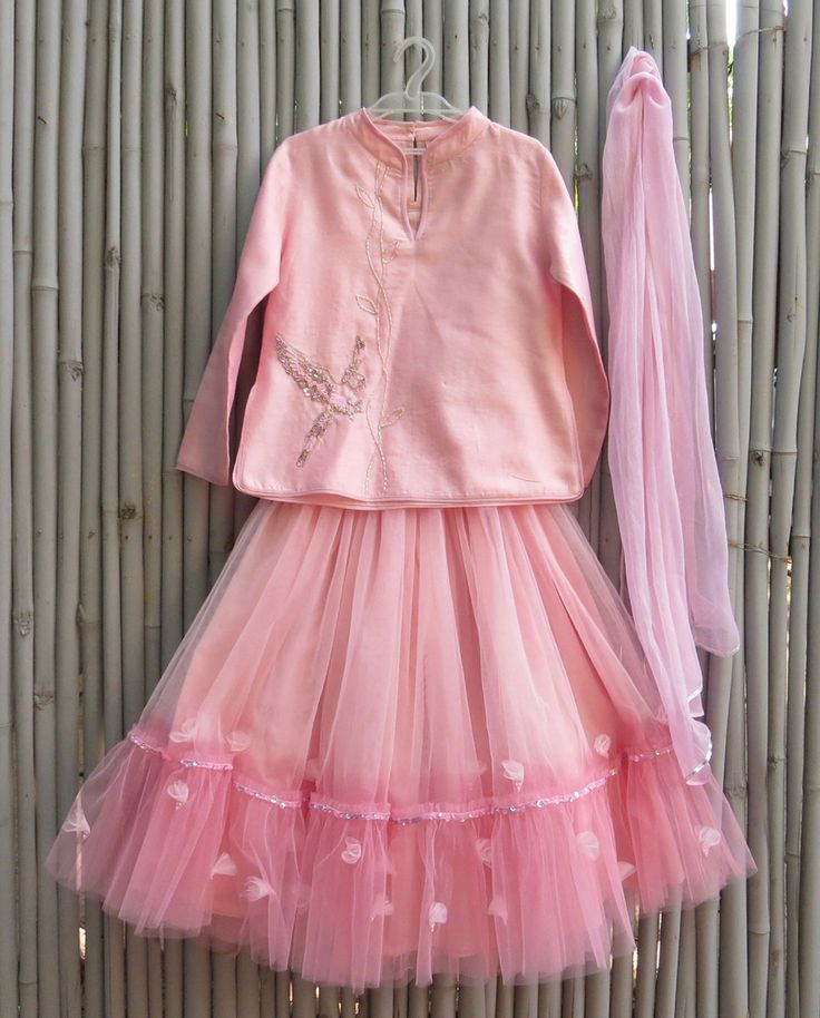 Baby Pink Lengha Set with Sequin Parrot Motif