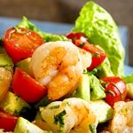 Atkins Shrimp on Tomato and Avocado Salad with Creamy Italian Dressing. Only 5.3g Net Carbs!