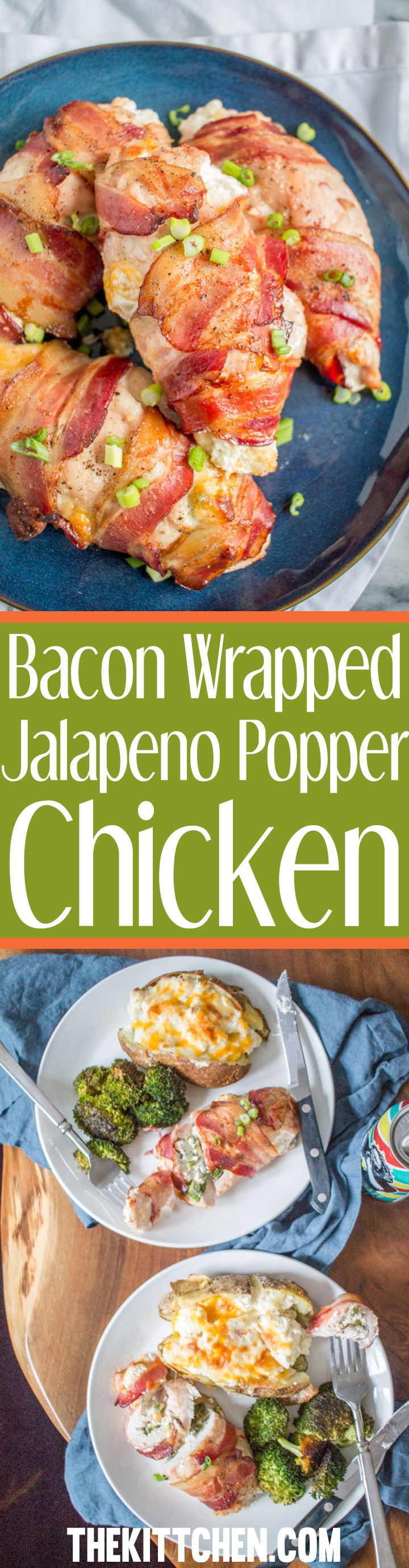 You will love this easy and delicious dinner recipe for Bacon Wrapped Jalapeño Popper Chicken! It's an easy weeknight dinner that takes only 10 minutes of active preparation time.