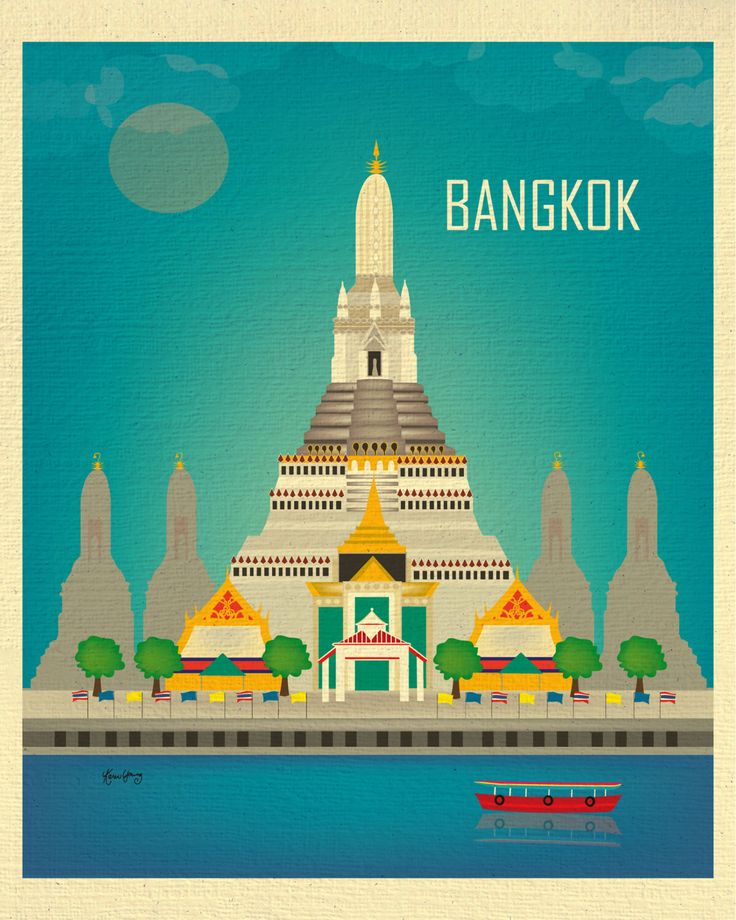Bangkok Thailand Skyline - Vertical Destination Southeast Asian Travel Art Print for Home, Office, and Art Gifts - style E8-O-BAN by loosepetals on Etsy https://www.etsy.com/listing/226116393/bangkok-thailand-skyline-vertical