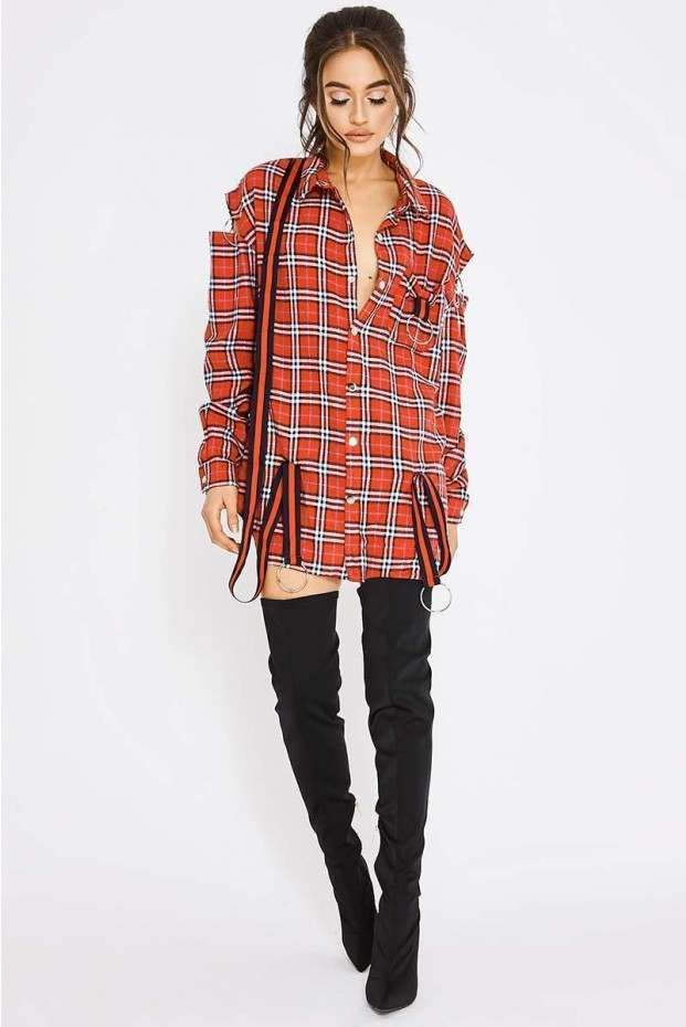 e697e50c8949f Pia mia red flannel check hoop detail shirt dress