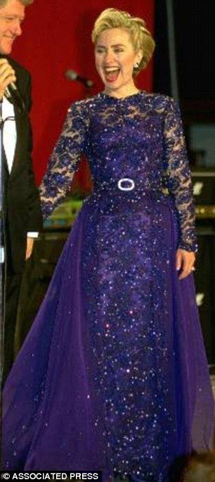 Hillary Rodham Clinton in a gown designed by Sarah Phillips and made by Barbara Matera, a theatrical costume maker, circa 1993.
