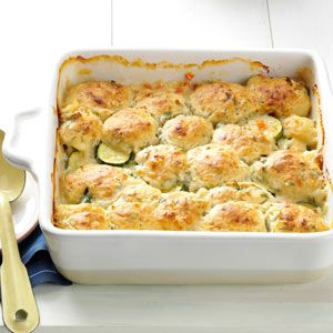 Summer Vegetable Cobbler. I made this the other night with fresh zucchini and summer squash. It;s going into my summer dinner rotation! Yum! I didn't have any red pepper on hand, but tossed in fennel. Also used Bisquick as a time saver, instead of making  making the topping from scratch.