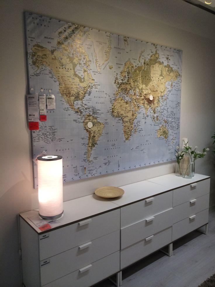 Wereldkaart + dressoir (Ikea)
