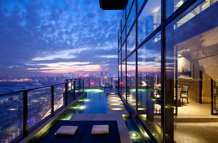 Penthouse with balcony swimming pool designed by Steve Leung