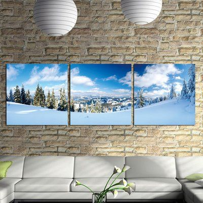 "3 Panel Photo 'Wood Mounted Ski Slope' Photographic Print Multi-Piece Image on Canvas Size: 20"" H x 60"" W"