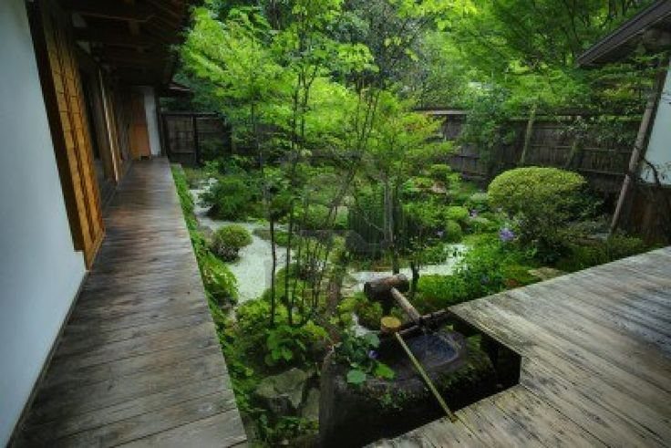 A Japanese garden in Kyoto,Japan Stock Photo