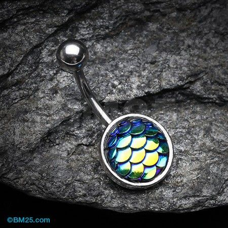 Iridescent Mermaid Scale Belly Button Ring