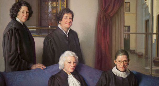 A portrait of the 4 female justices who served on the United States Supreme Court unveiled at the Smithsonian's National Portrait Gallery. Justices Sandra Day O'Connor, Sonia Sotomayor, Ruth Bader Ginsburg & Elena Kagan are depicted in the oil-on-canvas portrait by artist Nelson Shanks wearing traditional Supreme Court robes. Kim Sujet, the director of the National Portrait Gallery, said she hopes the piece starts a discussion about breaking barriers & the important roles women play in the…