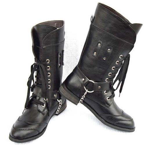 black leather studded lace up knee high