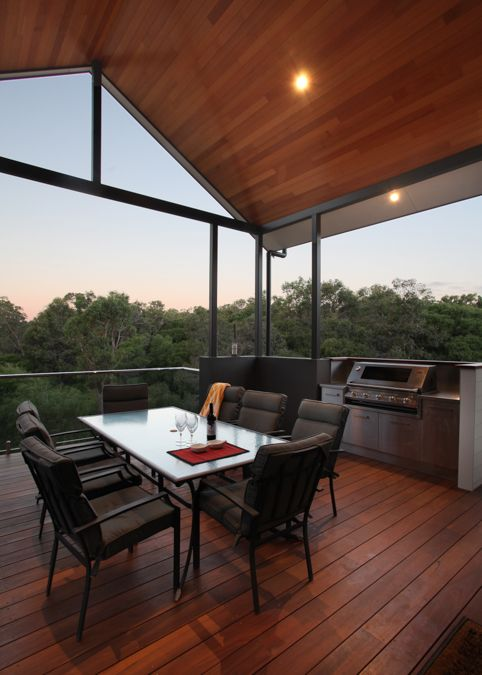 Timber decking patio, built in barbecue, outdoor kitchen, decking, patio with a view, country style patio design, raked timber ceiling