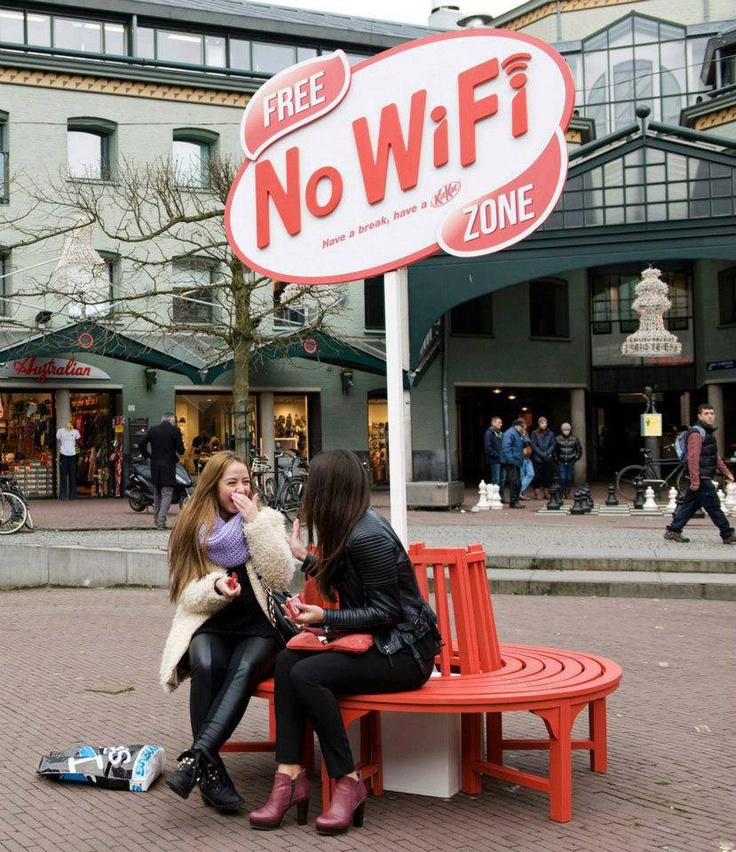 Kit Kat has launched a creative advertising campaign in Amsterdam. Instead of offering free wireless Internet, the brand introduces 'No Wi-Fi' zones that block all wireless signals within a radius of 5 meters. Have a break !