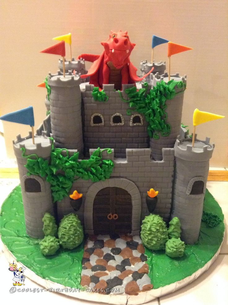 Coolest Medieval Fantasy Castle Cake... Coolest Birthday Cake Ideas. ---  if I add a princess needing to be rescued, I think this could work for a co-ed cake.