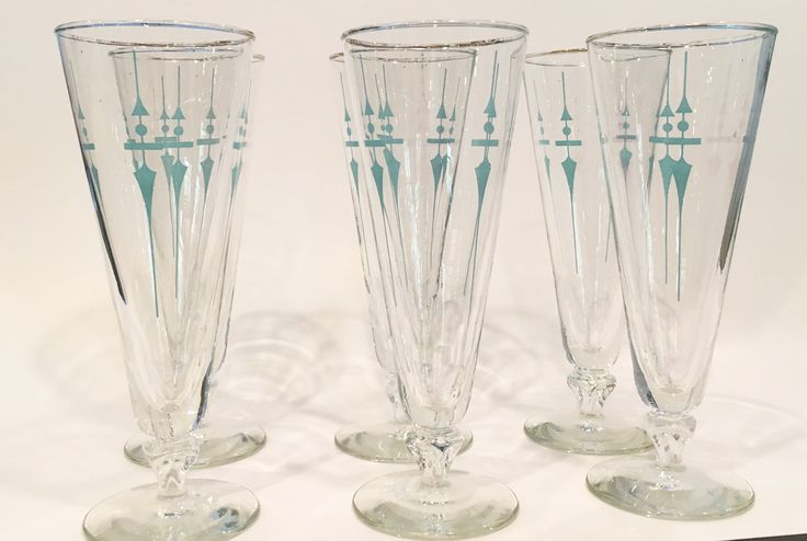 Mid-Century Teal Beer Glasses (Set of 6) by cigarcityvintage on Etsy