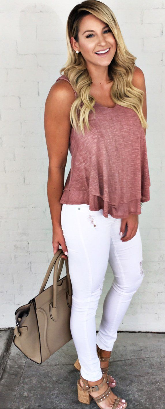 #spring #outfits Pink Tank + White Ripped Skinny Jeans + Brown Sandals