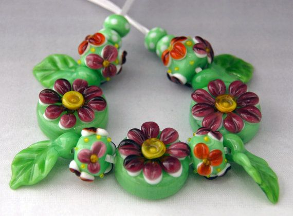 Where Have All the Flowers Gone? lampwork bead set