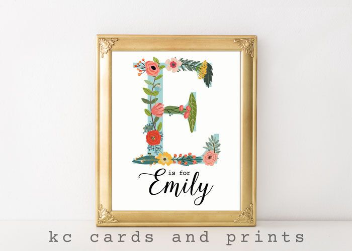 Emily Name Art Print - E Monogram - Nursery Wall Art - Custom Name Art - Floral…