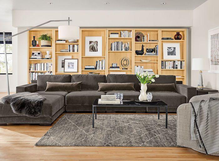 Living Room Ideas Pinterest Wooden Floor Bookshelf Grey Couch Carpet Bla In 2020 Modern Furniture Living Room Ottoman In Living Room Contemporary Living Room Furniture
