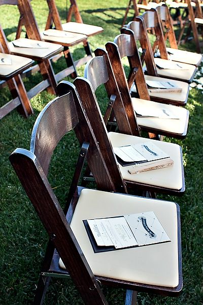 Elegant Brown Wood Folding Chairs Outdoor Wedding Ceremony