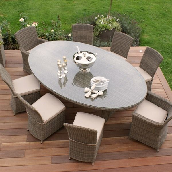 Maze Rattan Winchester Oval 8 Seat Garden Furniture Set
