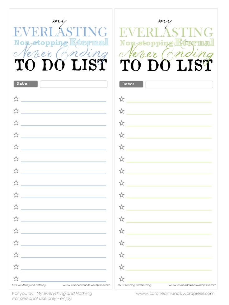 My Everything & Nothing - To do list notepads