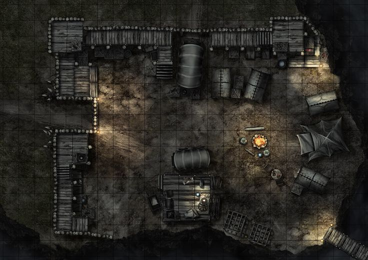 Bandit camp (night), a printable battle map for Dungeons and Dragons / D&D, Pathfinder and other tabletop RPGs. Tags: bandit, camp, encounter, fortified, tent, bridge, rocky, hill, mountain, tile set, wall, walls, night, nighttime, print