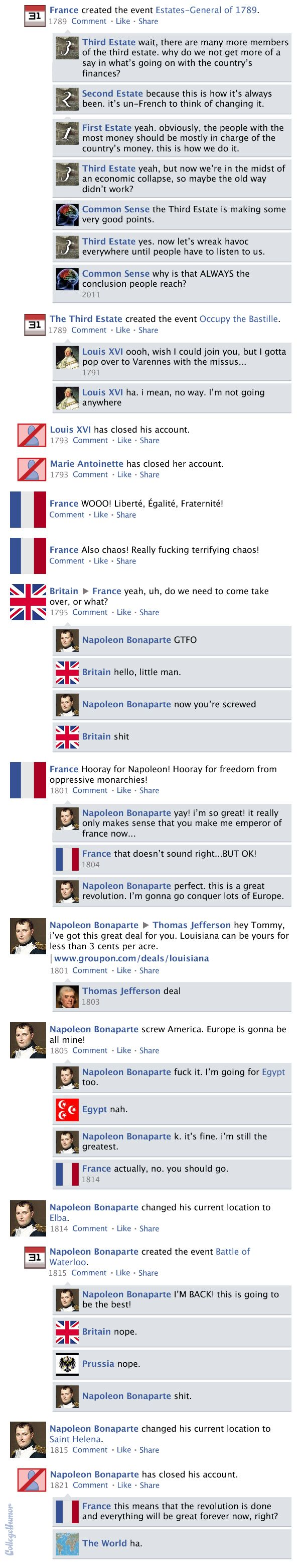 "A funny interpretation of the French Revolution on a Facebook timetable. Originally from ""College Humor""."