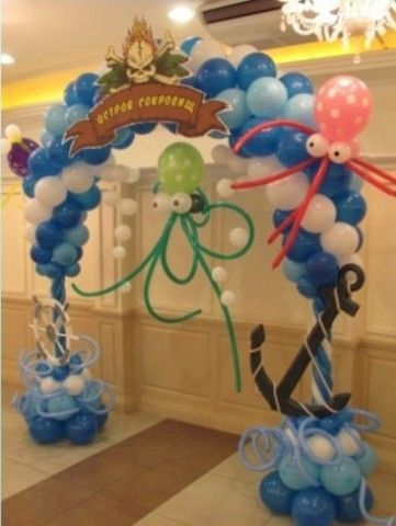 Оформление шарами в заданной тематике - это дерзкие пираты, волшебный сундук, осминожки из шаров разбежавшиеся по стенам, воинственные пиратские корабли, военные штурмовые самолеты, арка с якорем или нежные розовые перламутровые шарики, принцессы из шаров, волшебный замок. И это все Вы сможете найти у нас! тематическое оформление детских праздников в алматы, пиратские шары Алматы, пираты, осминожки, принцесса Алматы, замок Алматы, тропическая тематика