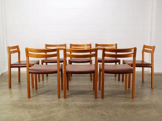 SALE Set Of 8 Moller Model 401 Vintage Danish Dining Chairs Teak