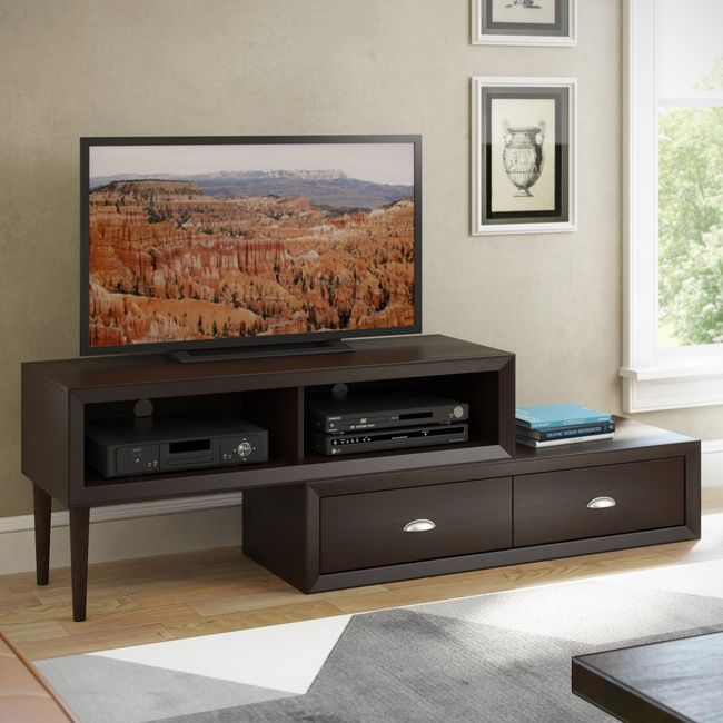 Admire the elegant split design in the new TV Bench from the Lakewood Collection by CorLiving. This two-tiered flexible bench is featured in an espresso finish accented with imitation nickel handles, and two drawers and two open shelves.