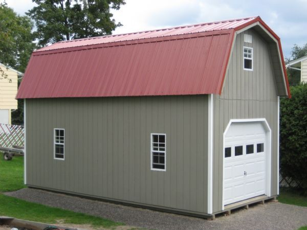 12x24 two story gambrel garage wood tex products for Two story metal garage