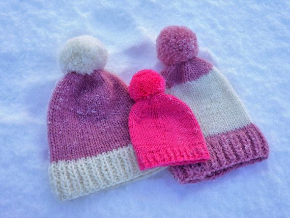 Knit Kids Hat/ Chunky Knit Kids Hat / Pom-Pom Hat / Knit Toddler Hat/ Knit  Infant Hat /Kids Beanie/ Knit Girl Hat/ Winter Hat / Slouchy Hat