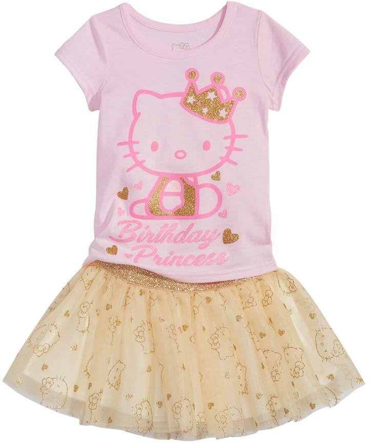 189286cea Hello Kitty 2-Pc. T-Shirt & Tutu Skirt Set, Baby Girls #hk #hellokitty  #sanrio #cat #hello #kitty #pink #birthday #toddler #tutu #gold #graphic # shirt ...