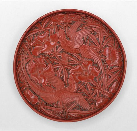 """Round Dish with Birds and Hollyhock, 14th century. Yuan (1271–1368)–early Ming (1368–1644) dynasty. China. The Metropolitan Museum of Art, New York. Gift of Florence and Herbert Irving, in honor of James C. Y. Watt, 2011 ( 2011.120.1) 