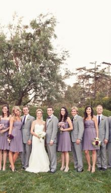 lavender and gray bridal party attire  @Amy Mumm Dude... The lavender and grey!! So cute. As much as I hate strapless I think these are cute dresses