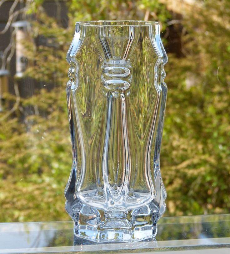 Vintage ROYAL KRONA Glass CRYSTAL 6  VASE Signed BENGT EDENFALK No. 4543 Sweden
