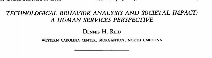 PDF - Technological behavior analysis and societal impact: A human services perspective by Dennis Reid (1991)