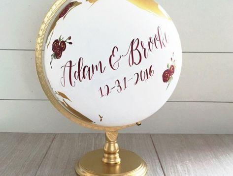 Kreative Idee für Hochzeitsgästebuch, etwas Schönes auf Globus schreiben oder zeichnen