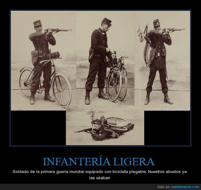 Las bicis plegables ya hace muchos años que circulan - Soldado de la primera guerra mundial equipado con bicicleta plegable. Nuestros abuelos ya las usaban   Gracias a http://www.cuantarazon.com/   Si quieres leer la noticia completa visita: http://www.skylight-imagen.com/las-bicis-plegables-ya-hace-muchos-anos-que-circulan-soldado-de-la-primera-guerra-mundial-equipado-con-bicicleta-plegable-nuestros-abuelos-ya-las-usaban/